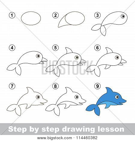 Drawing tutorial. How to draw a Dolphin