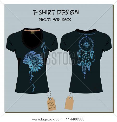 black design girl's T-shirts, with the label, vector.