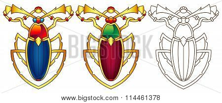 Egyptian Scarab Colorful Vector Illustration