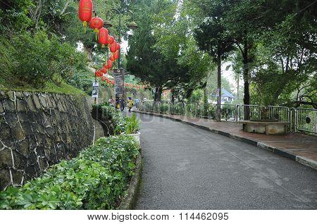 View of Jalan Tuanku Yahya Petra at Bukit Bendera or Penang Hill, Penang, Malaysia.