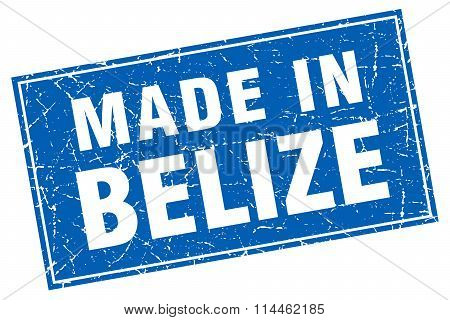Belize Blue Square Grunge Made In Stamp
