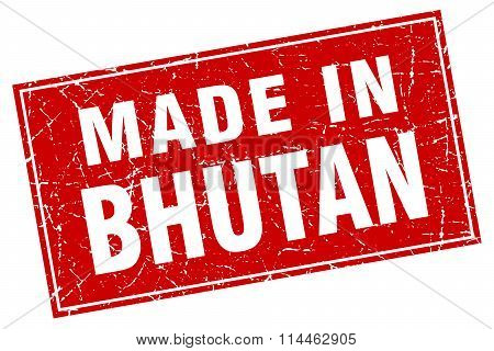 Bhutan Red Square Grunge Made In Stamp