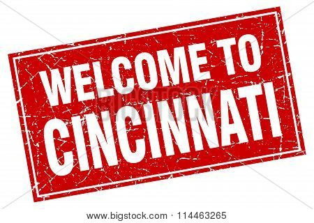 Cincinnati Red Square Grunge Welcome To Stamp