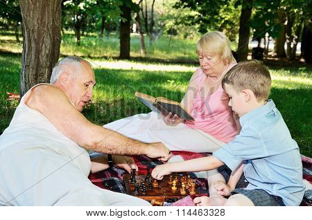 Grandmother Reading A Book And Little Boy And His Grandfather Play Chess In The Park