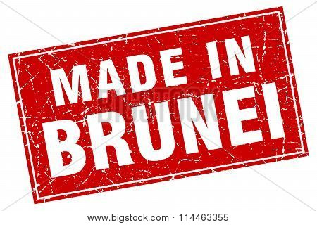 Brunei Red Square Grunge Made In Stamp