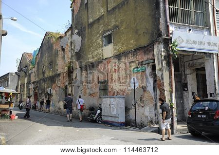 View of Lebuh Ah Quee or Ah Que Street at Penang, Malaysia.