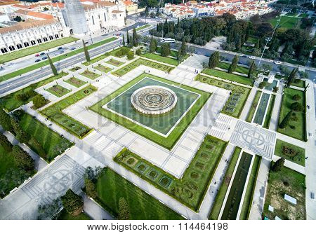 Aerial View of Empire Square, in Belem, Lisbon, Portugal