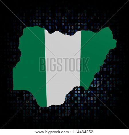 Nigeria map flag on hex code illustration