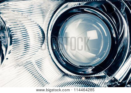 xenon led headlight lamp optic lens, macro view