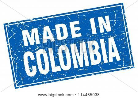 Colombia Blue Square Grunge Made In Stamp