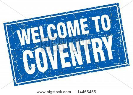Coventry Blue Square Grunge Welcome To Stamp