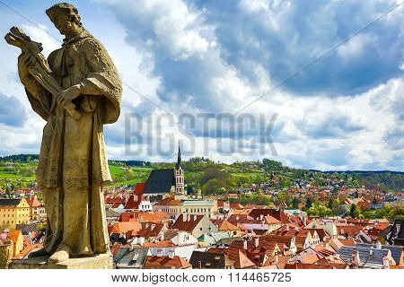 View On Krumlov In Bohemia