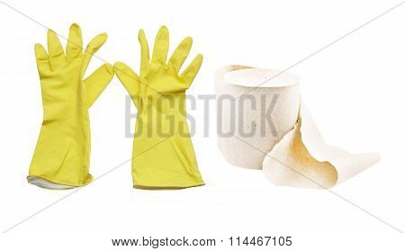 Yellow Gloves And A Roll Of Toilet Paper