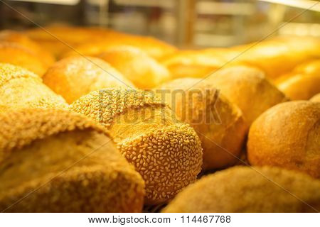 Close Up Of Bread On Tray