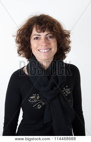 Portrait Of Forty Years Old Woman In Studio