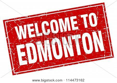 Edmonton Red Square Grunge Welcome To Stamp