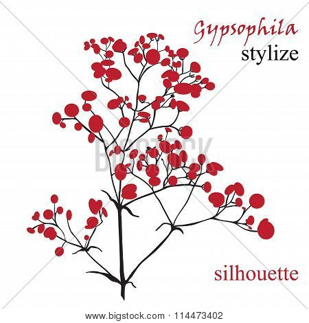 Branch Of Beautiful Hand-drawn Silhouette Gypsophila