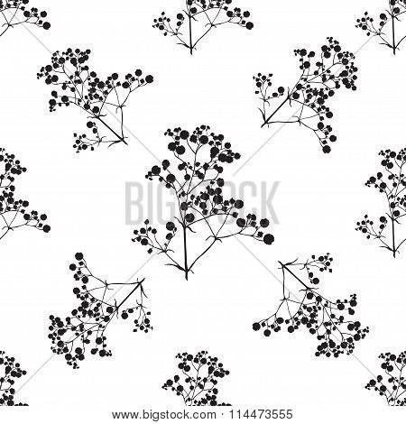 Seamless Background With Branches Of Beautiful Hand-drawn Silhouette Gypsophila