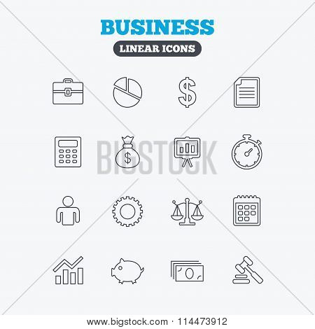 Business line icons. Money, chart and document.