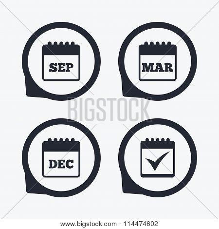 Calendar icons. September, March, December.