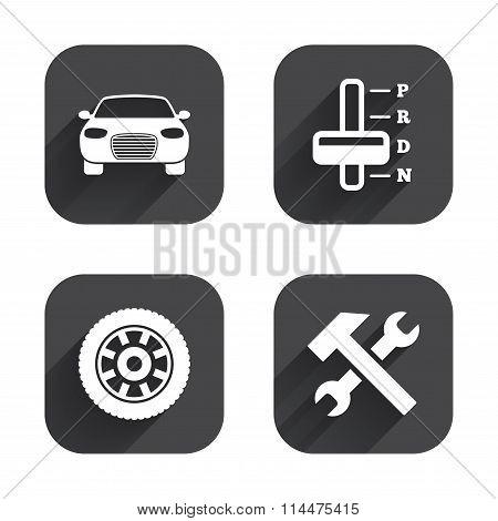 Transport icons. Tachometer and repair tool.