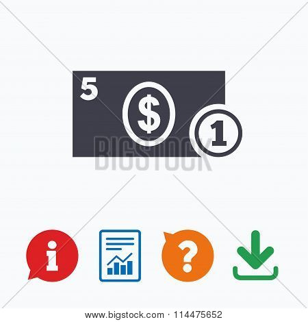 Cash sign icon. Dollar Money symbol. Coin.
