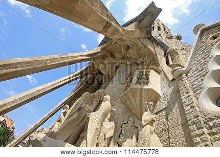 Barcelona, Catalonia, Spain - August 29, 2008: Passion Facade Of Sagrada Familia Temple, Barcelona,c