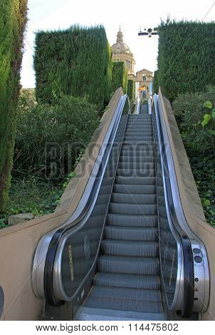 Barcelona, Catalonia, Spain - December 13, 2011: Moving Staircase Or Escalator To National Art Museu