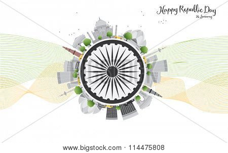 Happy Indian Republic Day celebration. Vector illustration. Concept with indian Landmarks and copy space. Buildings on white background
