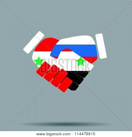 Symbol sign handshake Syria and Russia