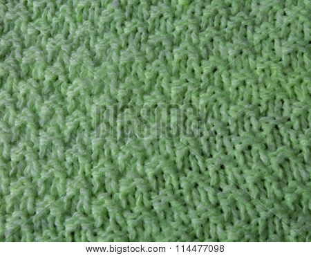 Green Hand-knitted Fabric