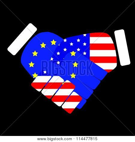 Symbol sign handshake European Union and USA