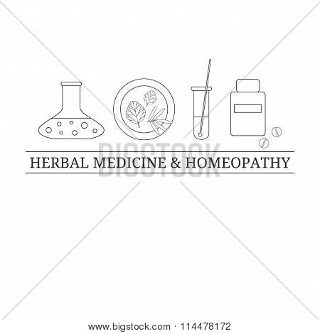 Logo design template with outline medical items.