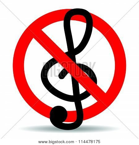 Ban music treble clef design icon flat