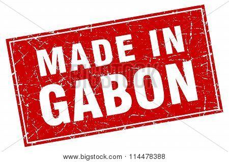 Gabon Red Square Grunge Made In Stamp