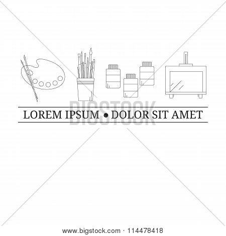 Logo design template with outline painting tools.