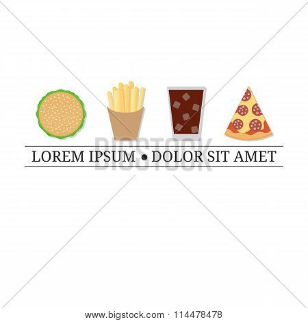 Logo design template with fast food elements.