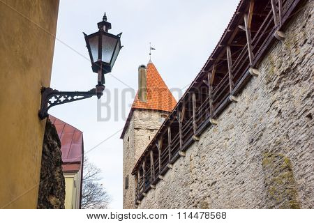 Medieval wall and tower in old Tallinn city, Estonia.