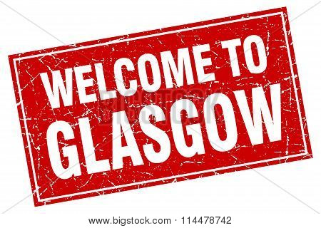 Glasgow Red Square Grunge Welcome To Stamp
