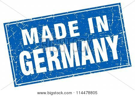 Germany Blue Square Grunge Made In Stamp