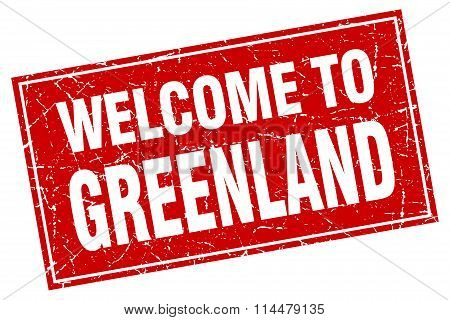 Greenland Red Square Grunge Welcome To Stamp