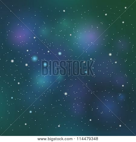 Vector space background in blue and green colors.