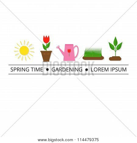 Colorful spring icons with tag line.