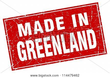 Greenland Red Square Grunge Made In Stamp