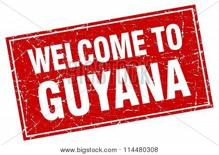 Guyana Red Square Grunge Welcome To Stamp