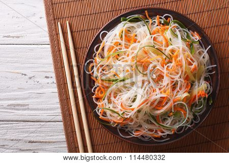 Crystal Noodles With Cucumber And Carrot On A Plate Horizontal Top View