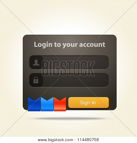 login window with place for text and social media  icons