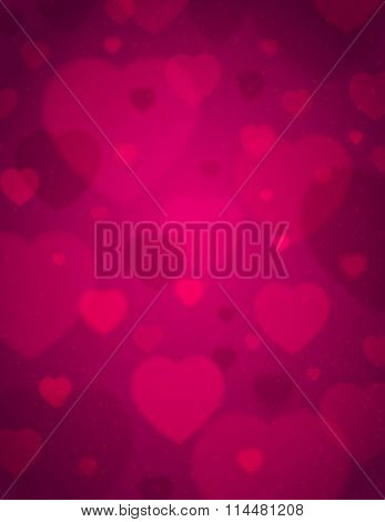 Pink Background With  Valentine Hearts,  Vector