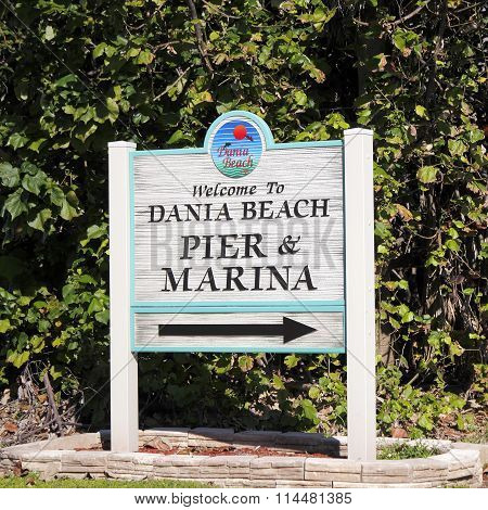 Welcome To Dania Beach Pier And Marina Sign