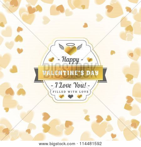 Happy Valentines Day Vintage Golden Badge. Valentines Day Greeting Card Or Poster. Vector Illustrati